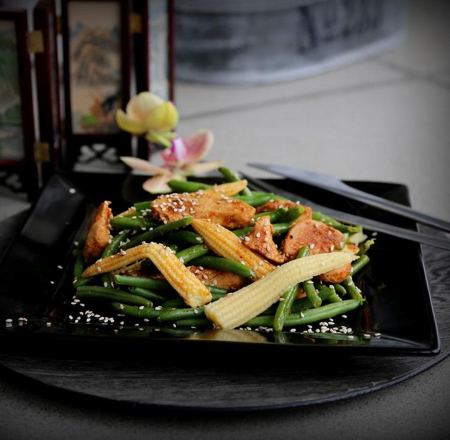 salat med kylling og grønne bønner, sund salat, slankemad