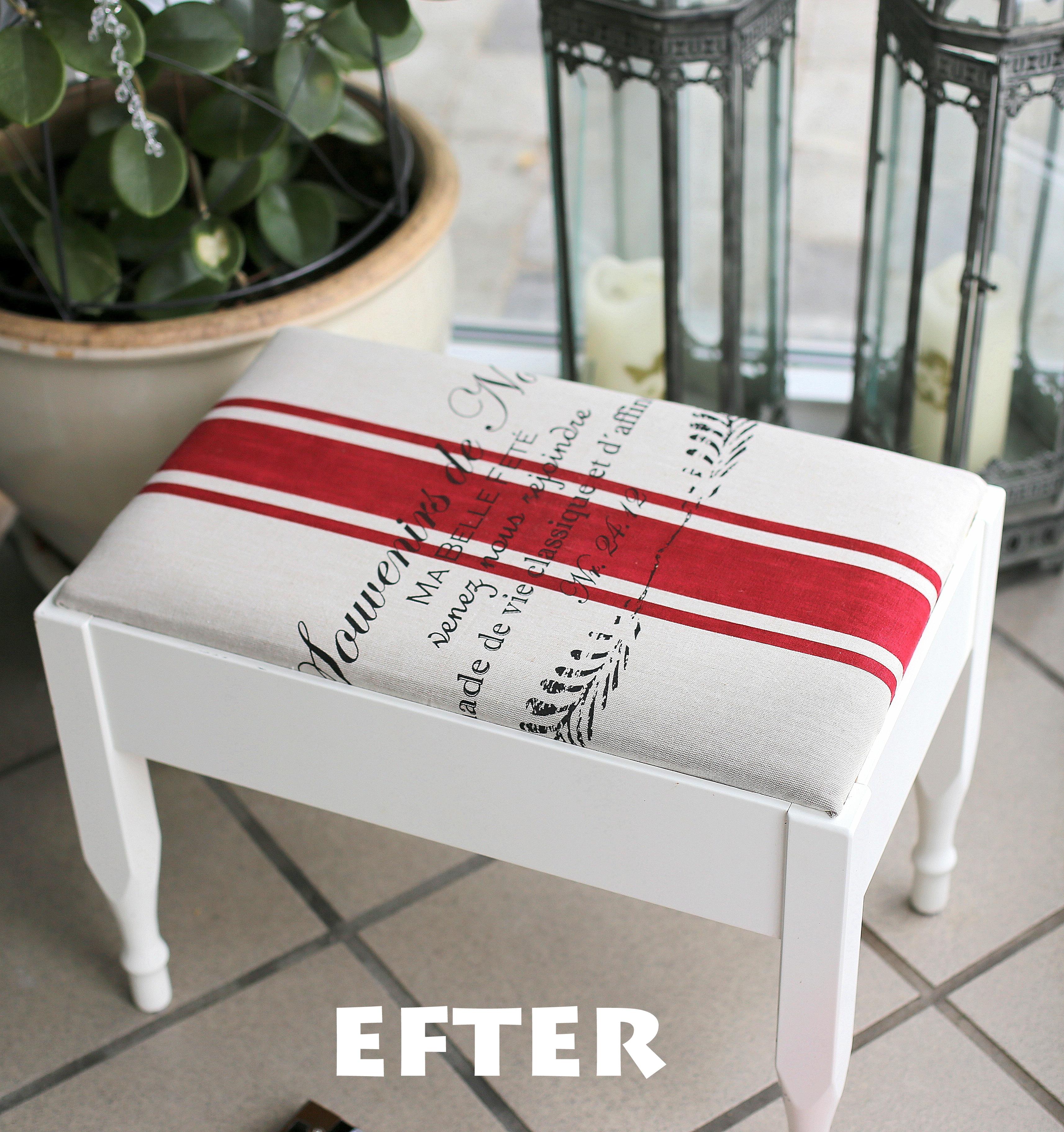 DIY Puff makeover til billige penge, gør det selv møbelpolstring