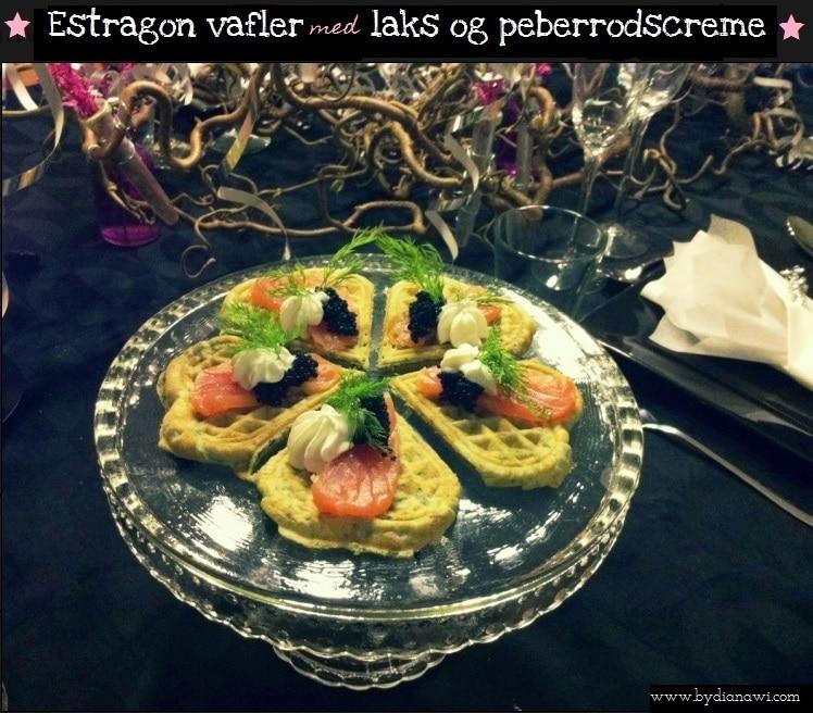 Estragon vafler med røget laks og peberrodscreme