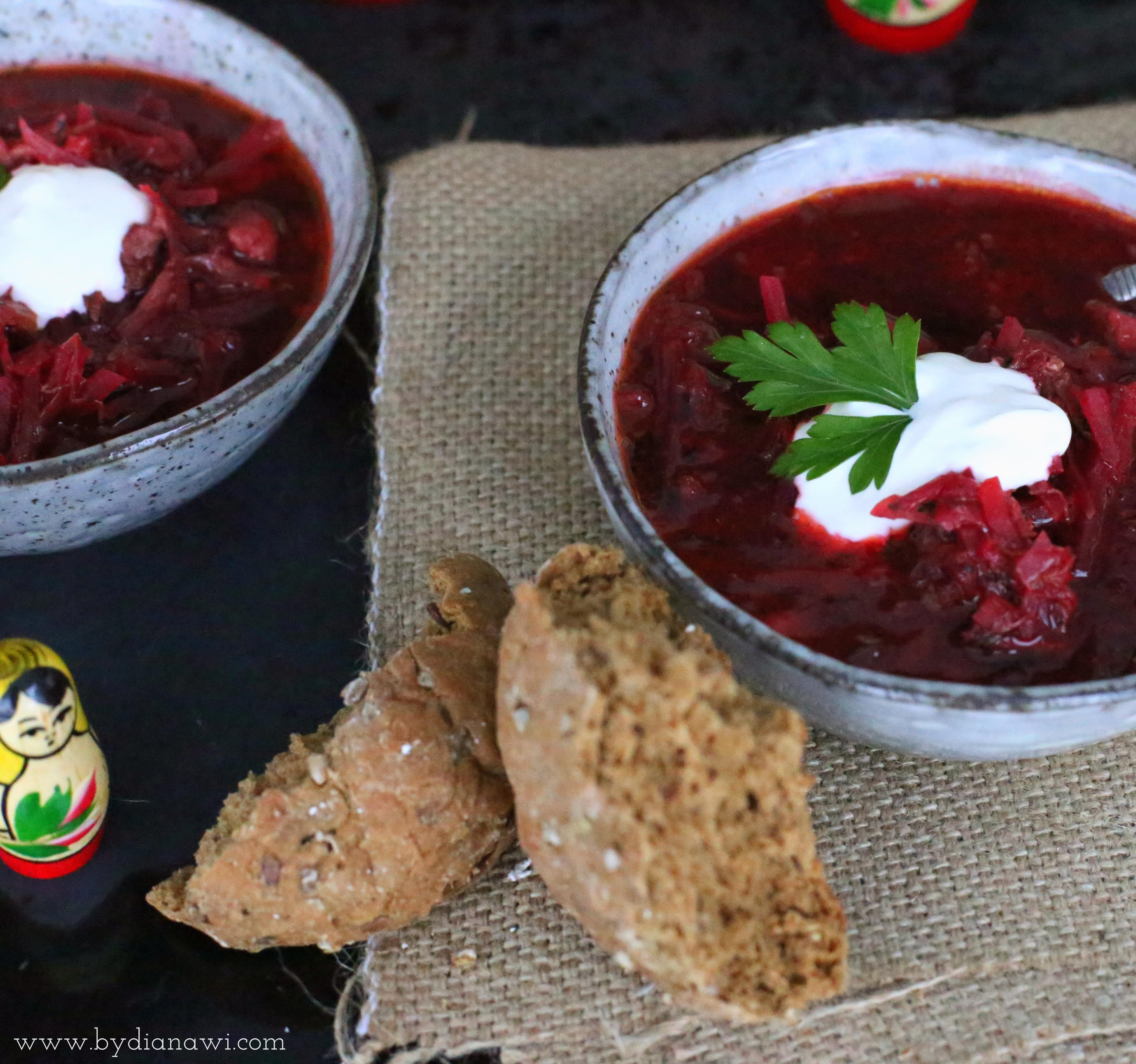 russisk borsch suppe opskrift, rødbedesuppe