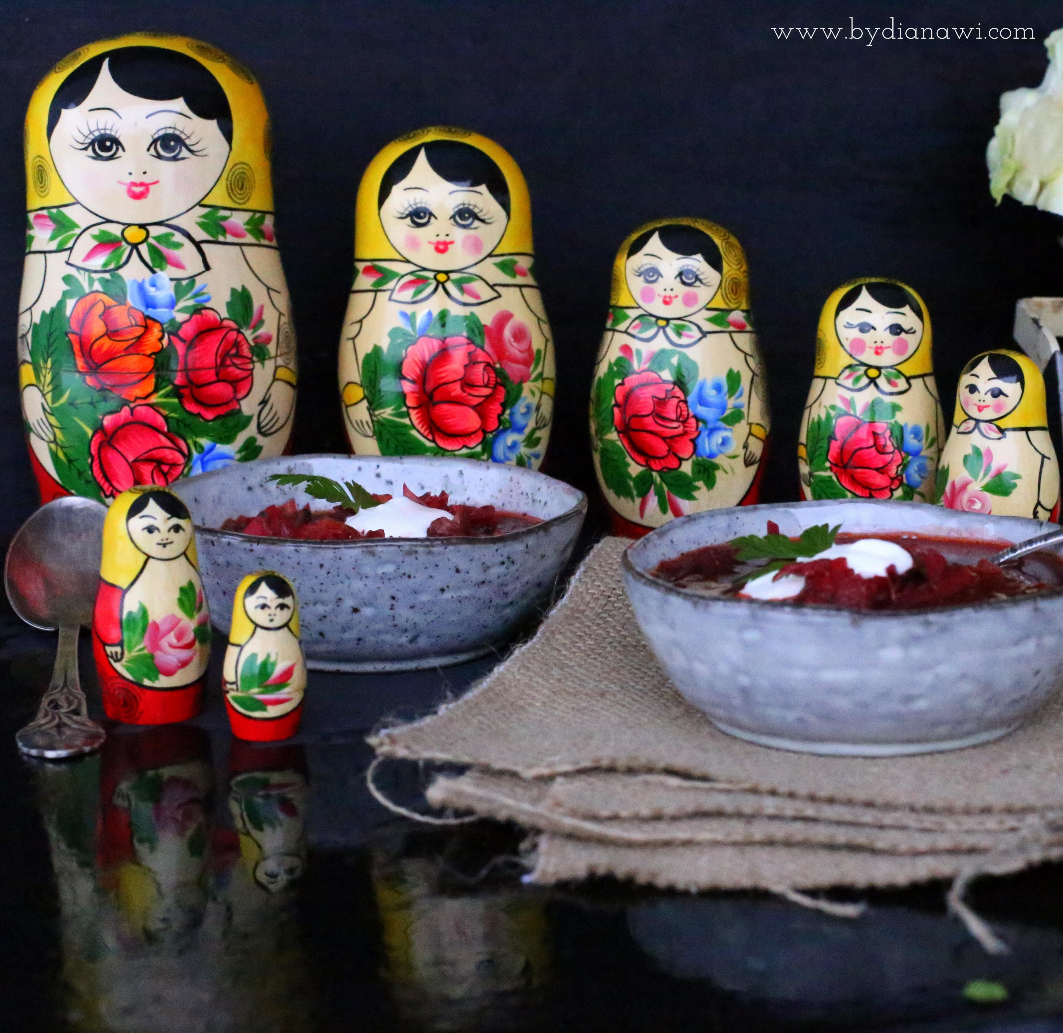 russisk borsch opskrift, rødbedesuppe, vintermad