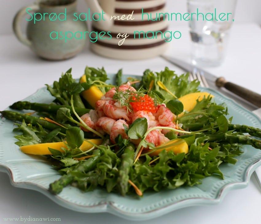 Sprød salat med hummerhaler, asparges og mango