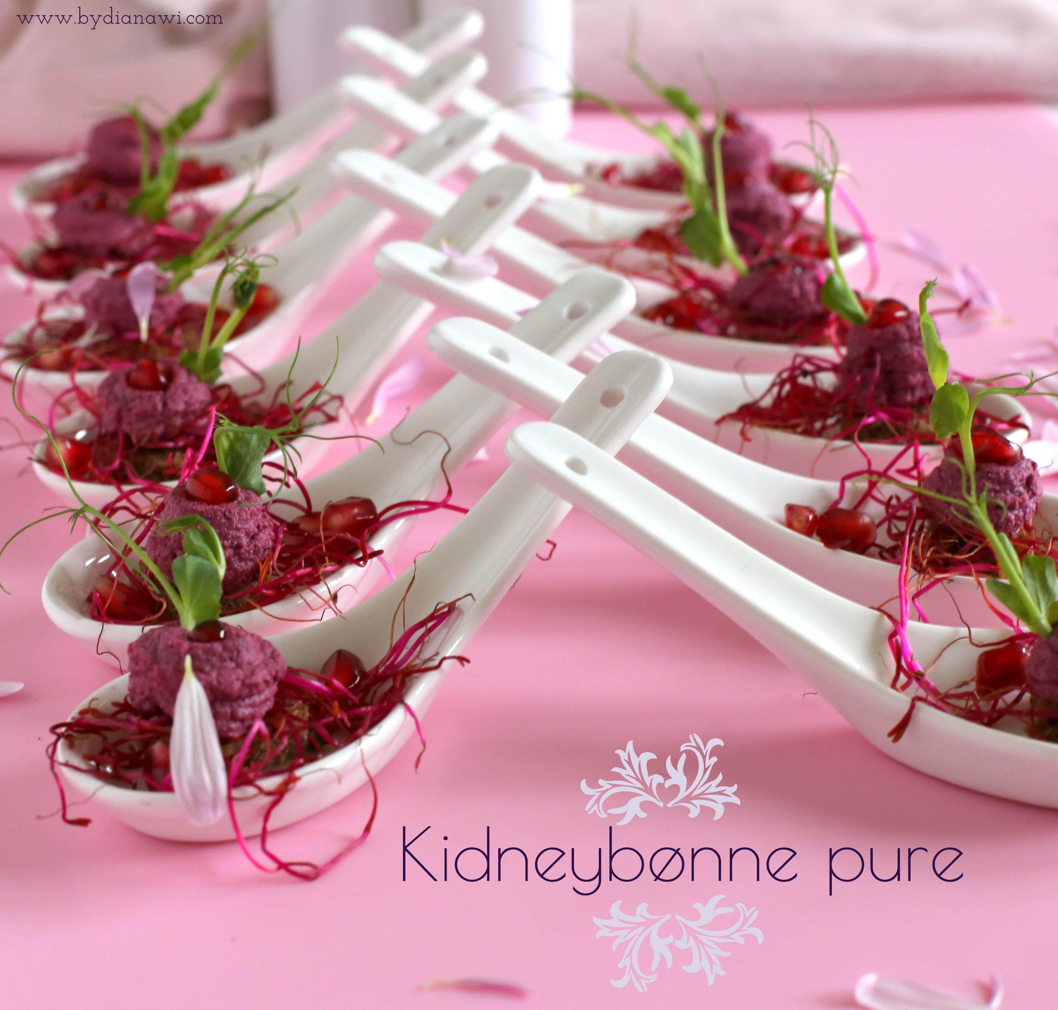 Små appetitvækkere med kidneybønne pure