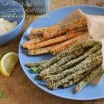 Sunde gulerods- og aspargesfritter med hvidløgs aioli