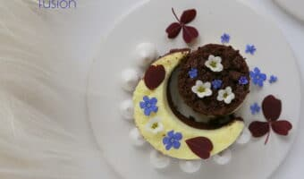 Kalorielet mørk & hvid panna cotta dessert med kys