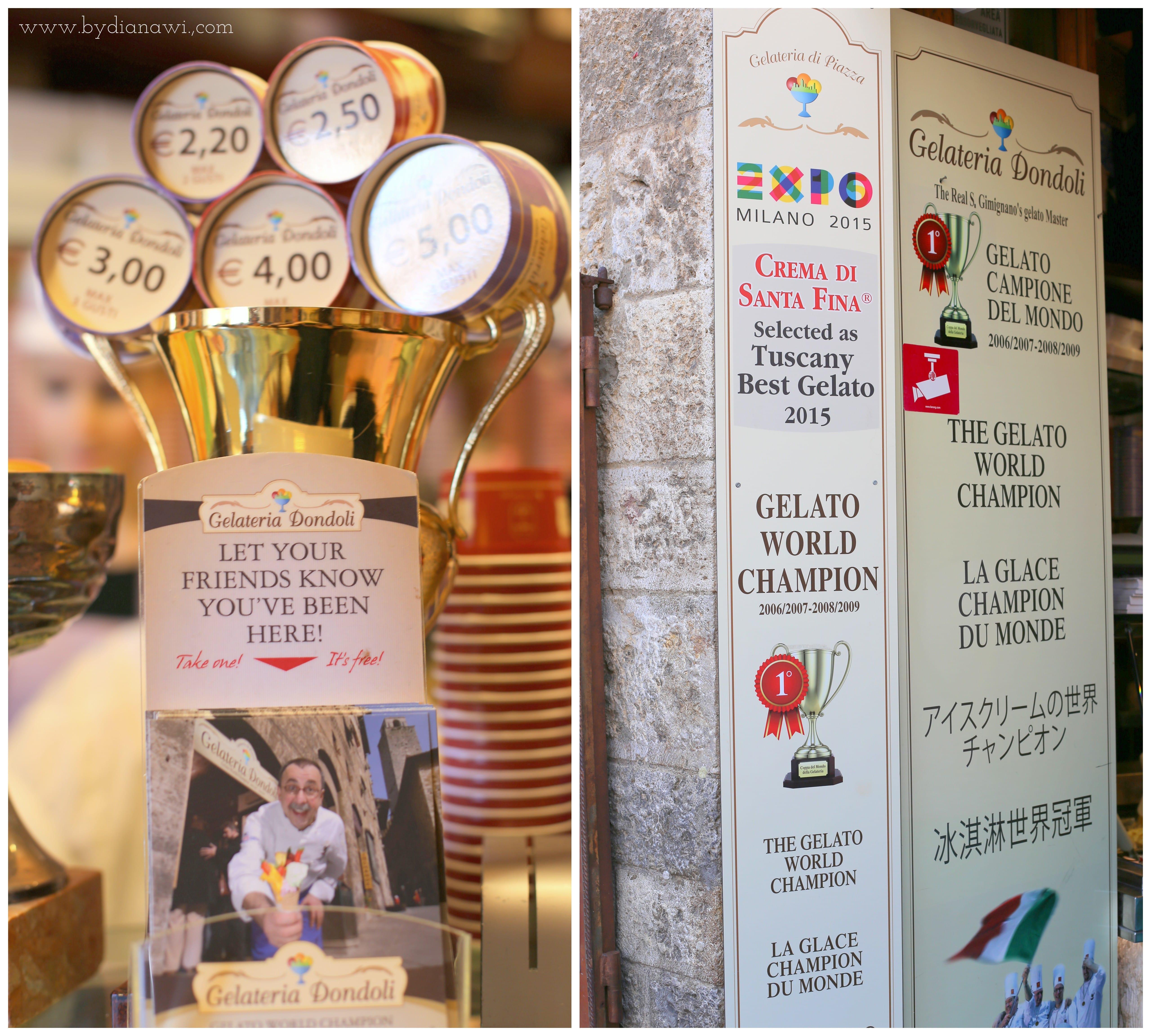 San Gimignano, Dondoli gelateria, Toscana