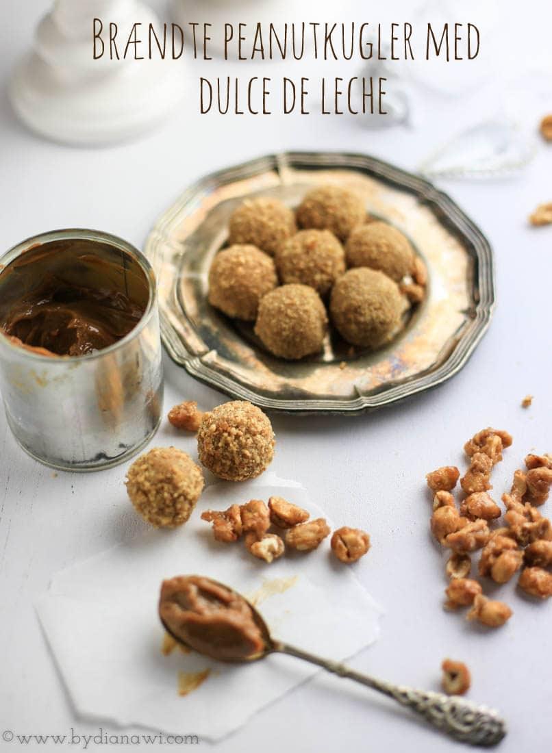 Brændte saltede peanutkugler med dulce de leche