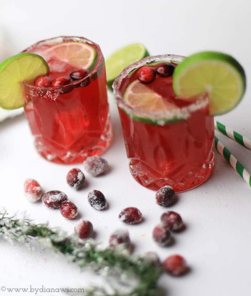 nytårs cocktail, tranebær margarita, nytårsaften drink, jul