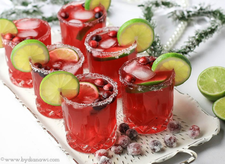 tranebær margaritas, drinks, nytårsdrink