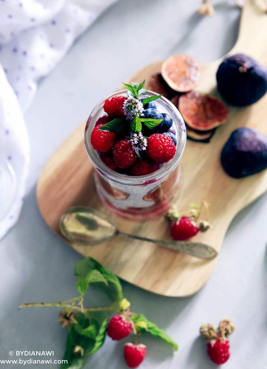 chiagrød, køleskabsgrød, sund morgenmad