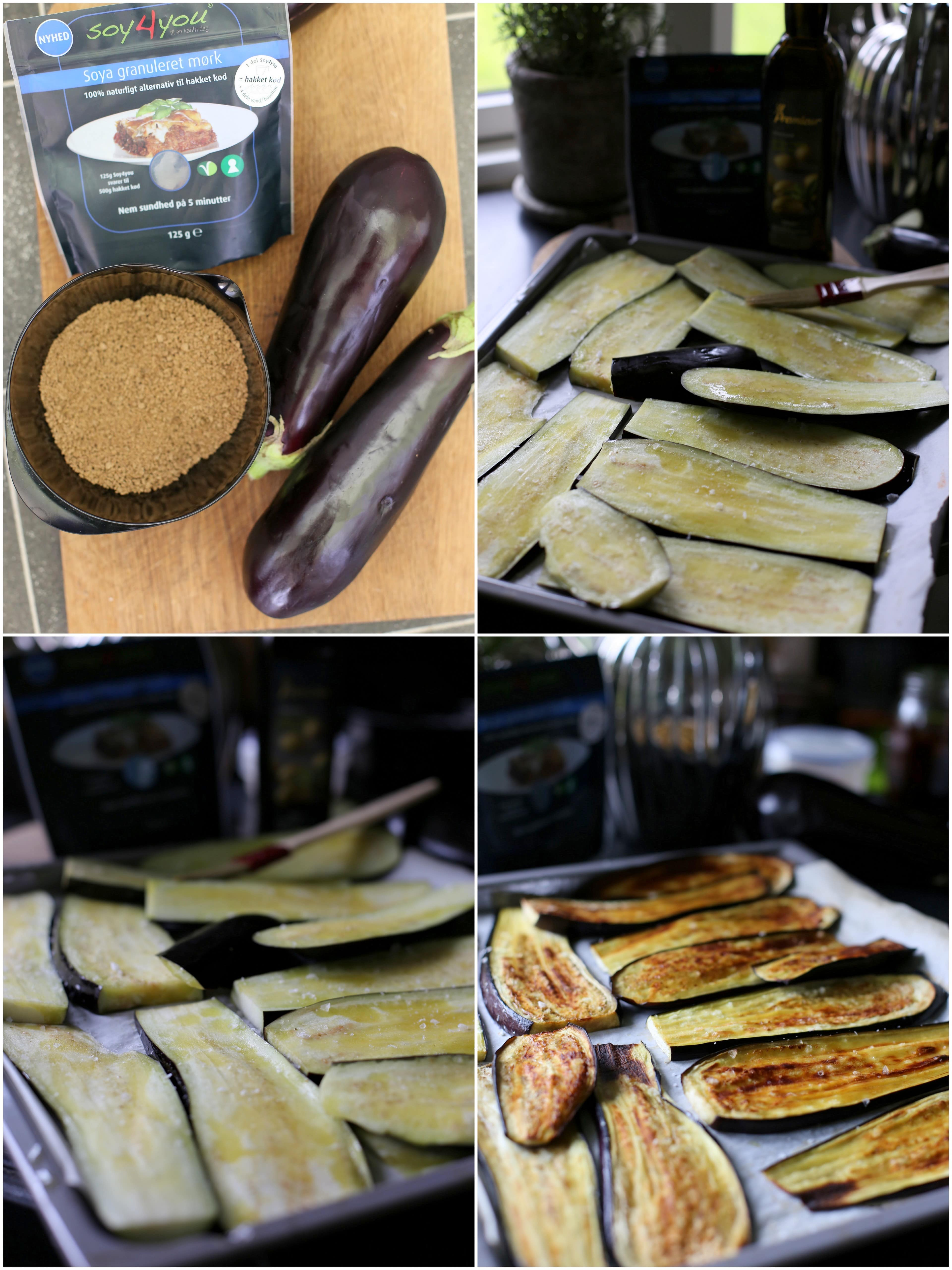 kødfri moussaka med grillede auberginer, soy4you, sort hvidløg