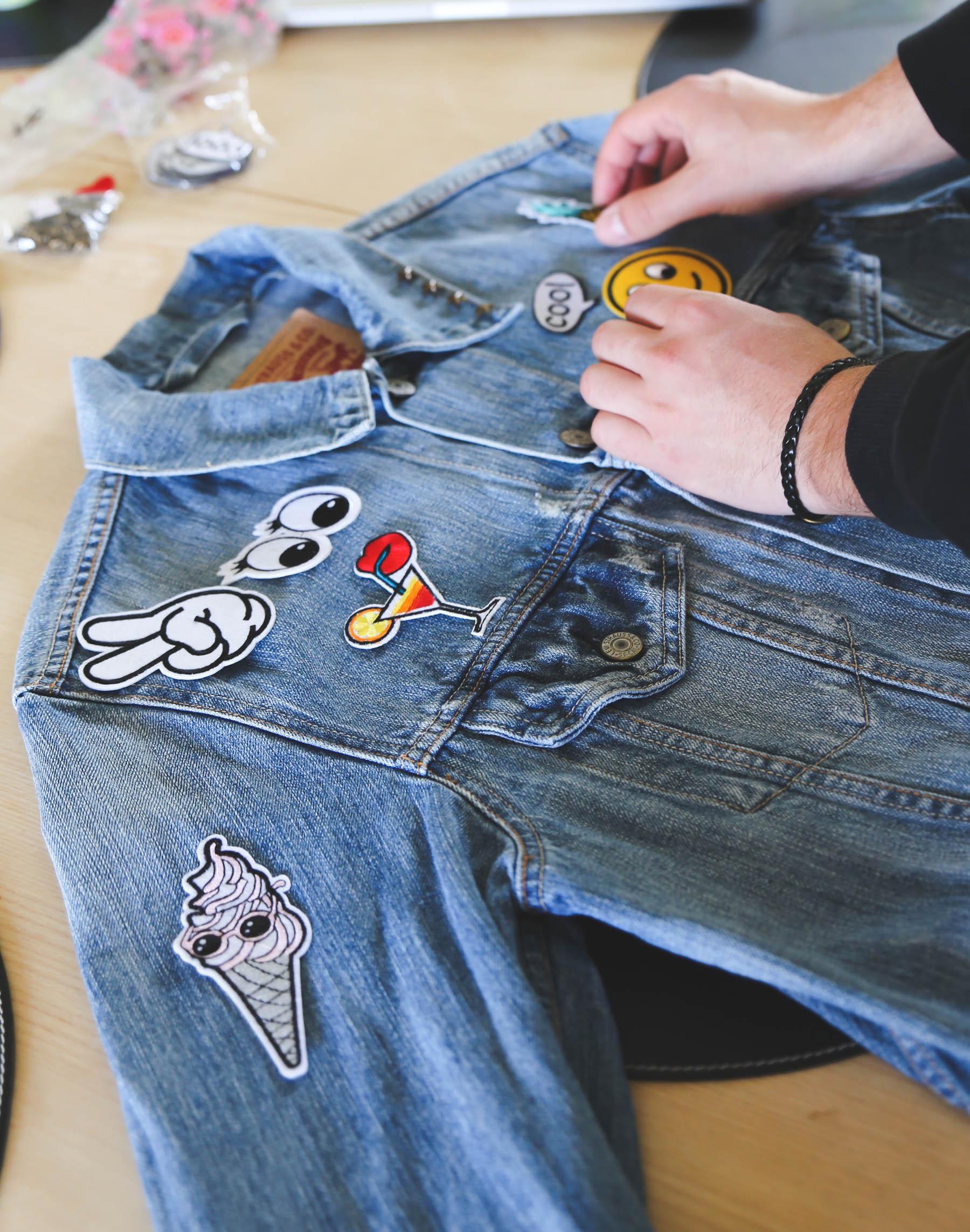DIY trendy denim jacket makeover