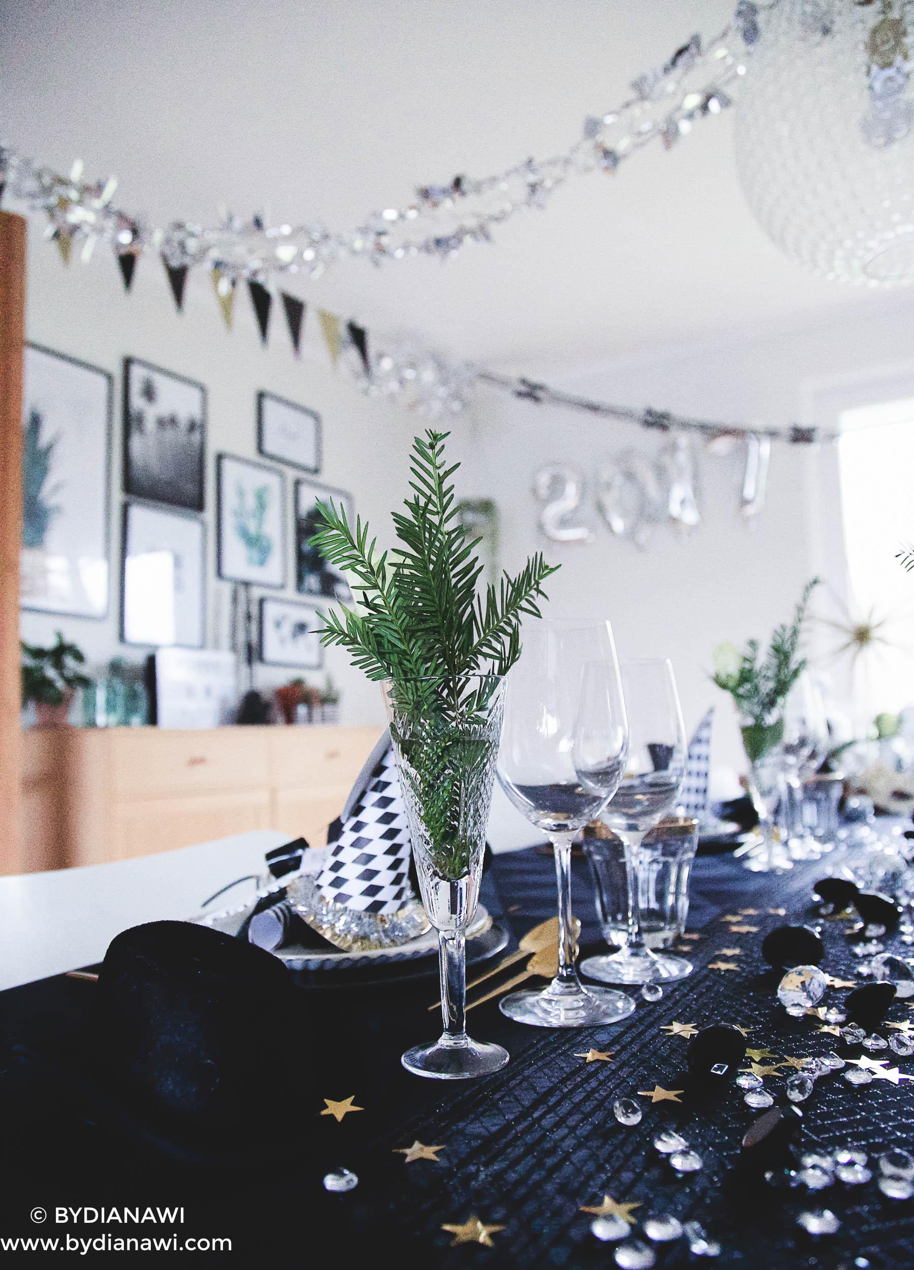 borddækning nytårsaften, inspiration nytårsfest