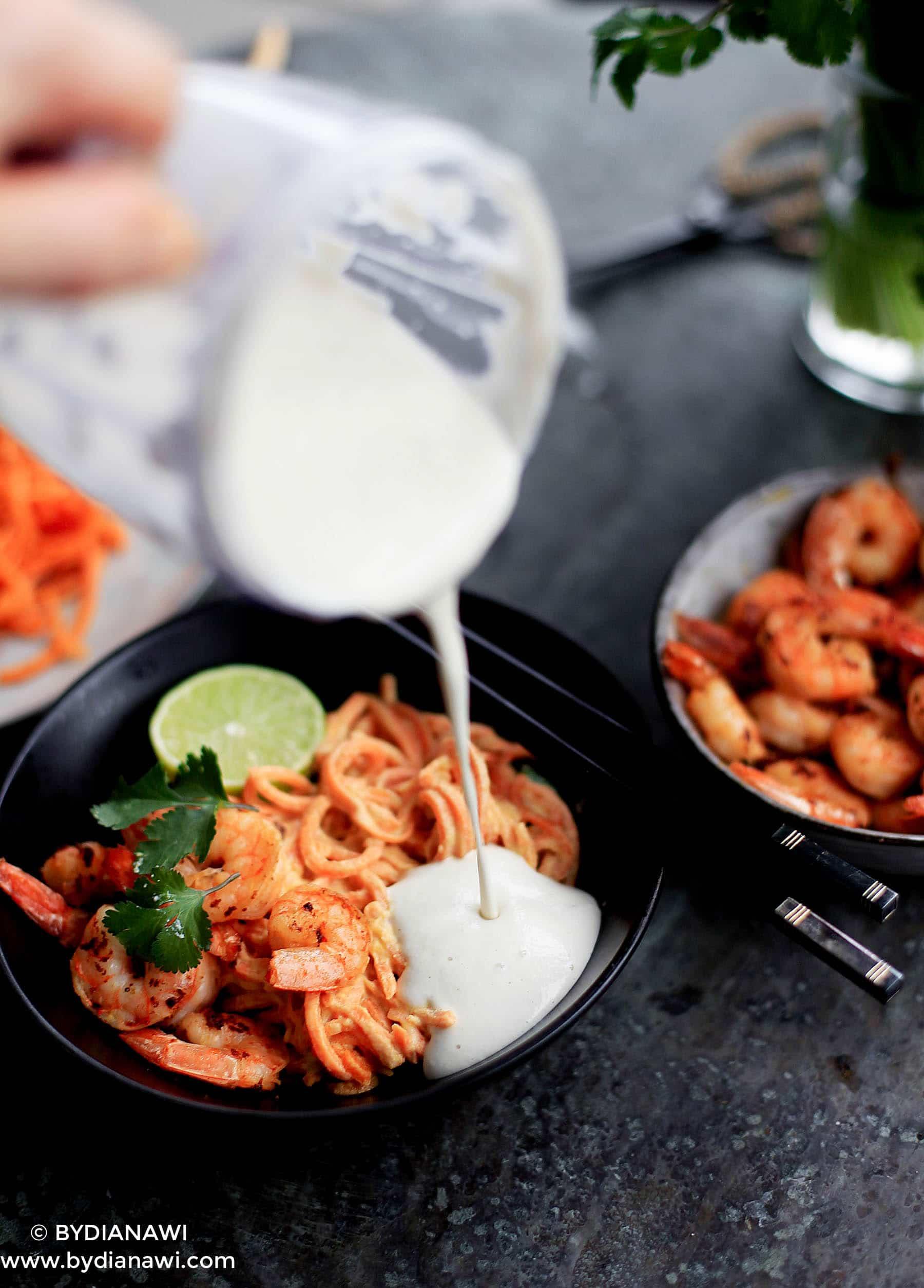 grøntsagsnudler, sund aftensmad, vegetarmad, low carb, vannamei rejer