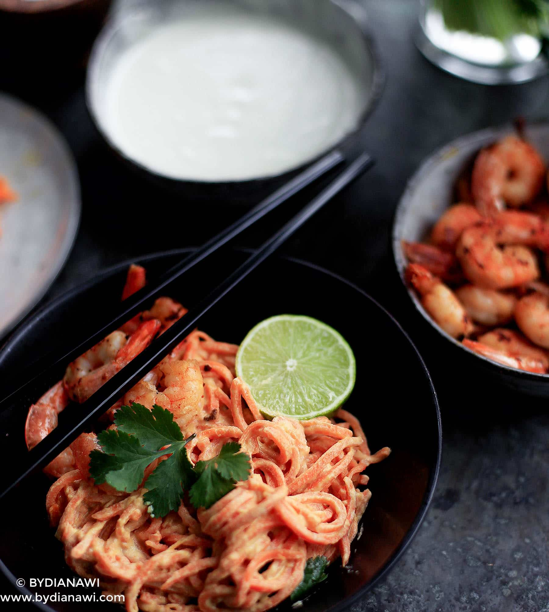 spiralizer, søde kartofler, cashew sauce, grøntsagsnudler, sund aftensmad, low carb