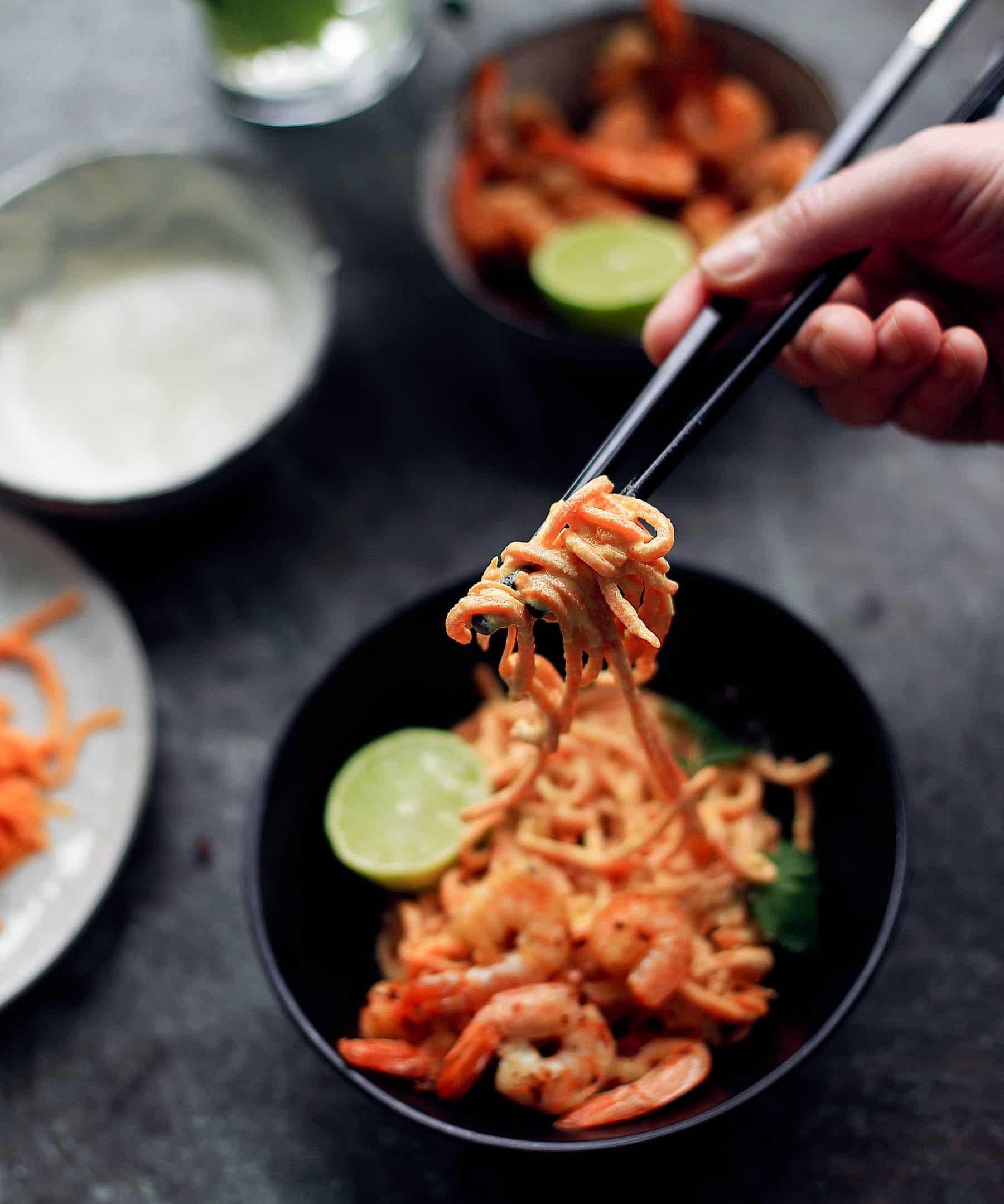 spiralizer, sund aftensmad, grøntsagsnudler, low carb, cashew sauce, vegetarmad