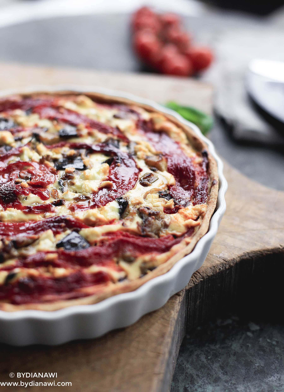 auberginetærte, sund tærte, opskrifter med auberginer, nem aftensmad, vegetarmad
