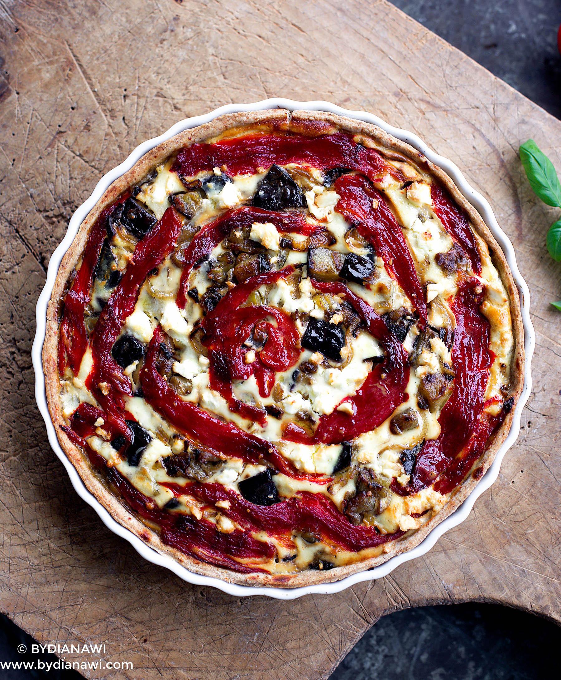 auberginetærte med ricotta, grillet peberfrugt og hvidløg, sund tærte, aftensmad