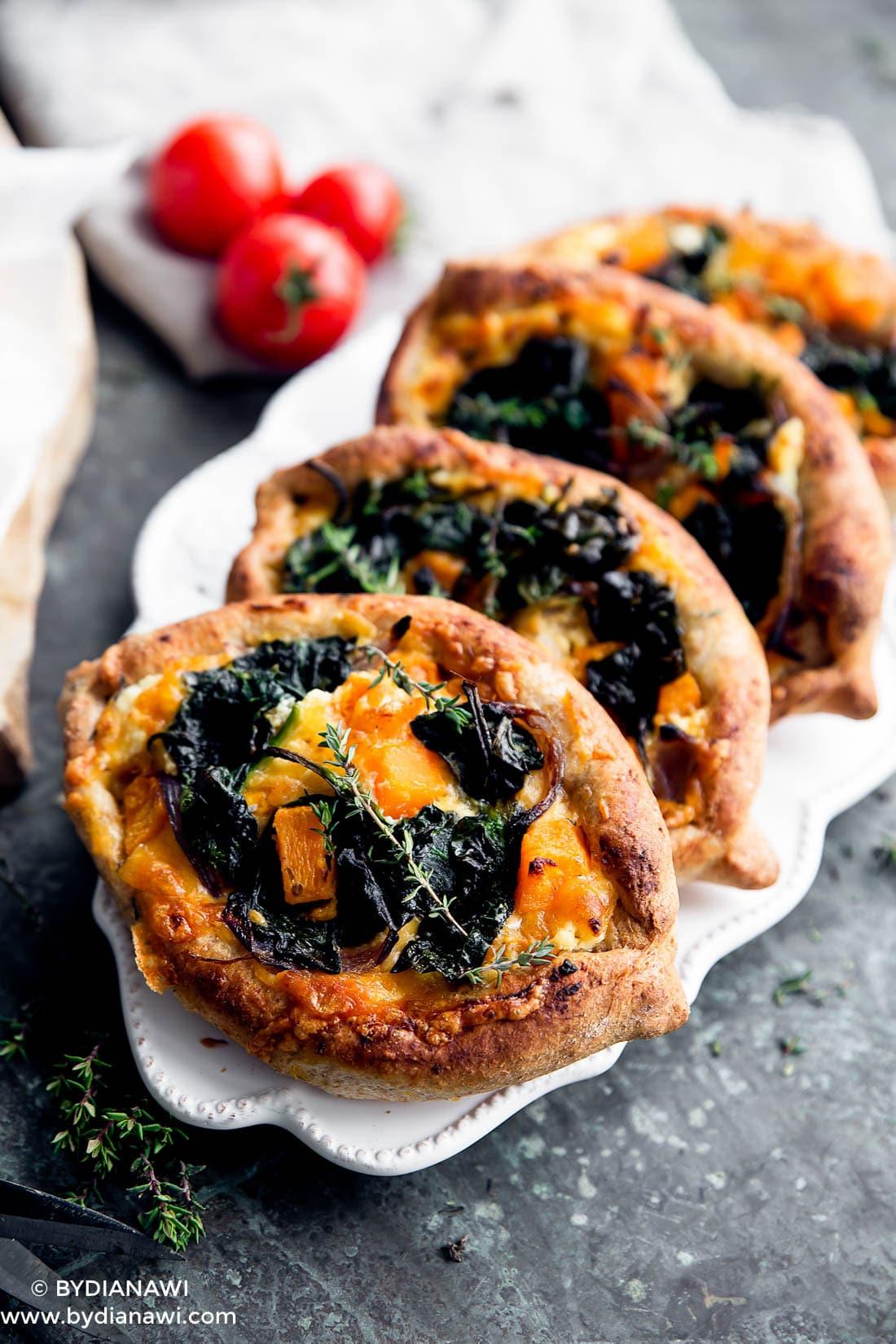 fuldkorns minipizza, butternut squash, ricotta ost, madpakke