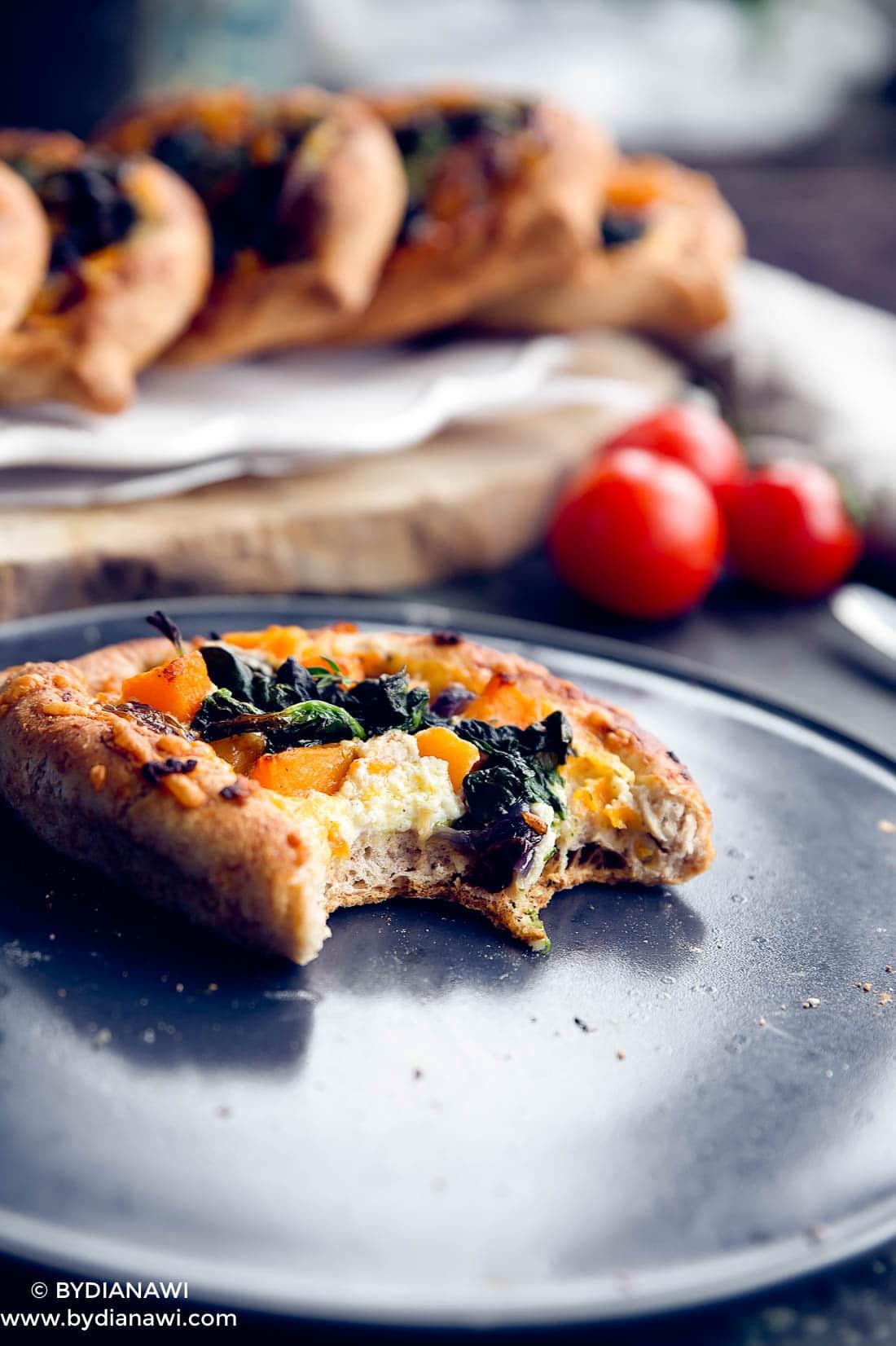 fuldkorns minipizzaer, vegetarmad, butternut squash, ricotta ost, madpakke
