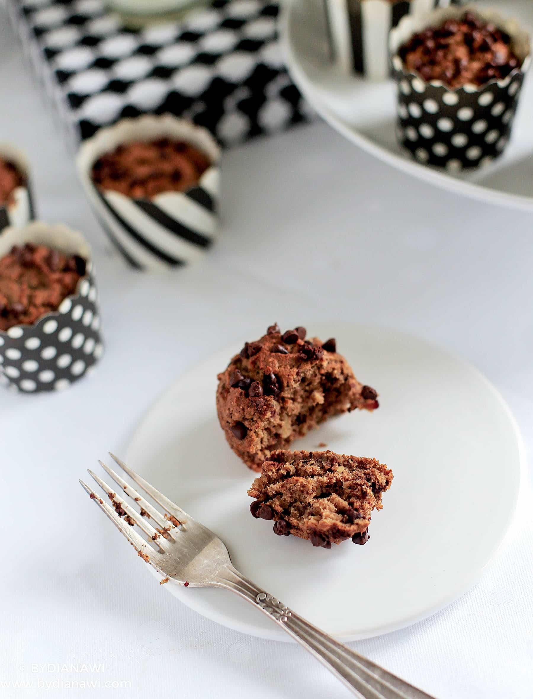 sund kage, sund dessert, bananmuffins uden sukker og uden mel