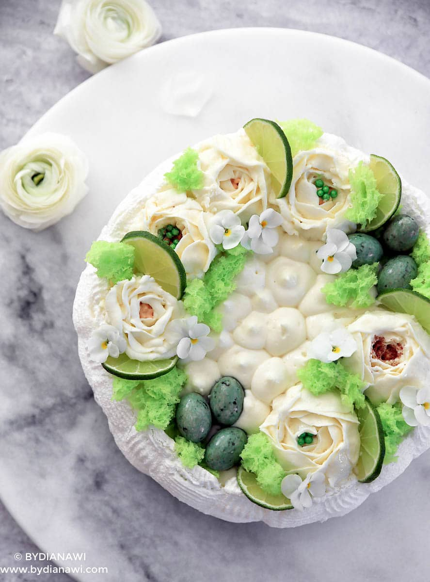 pavlova kage, påskekage, dessert