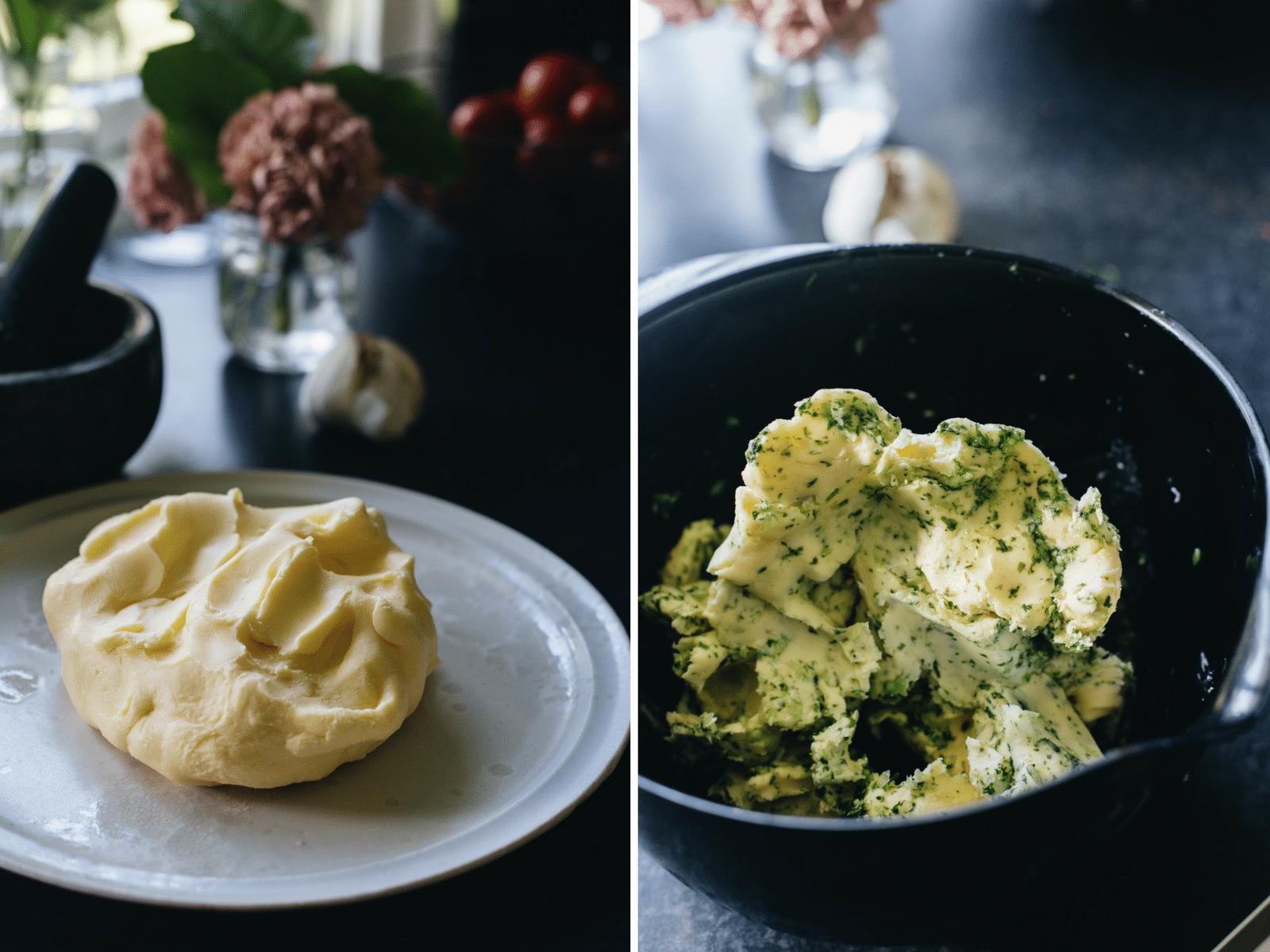 hjemmelavet smør, hvidløgssmør med persille