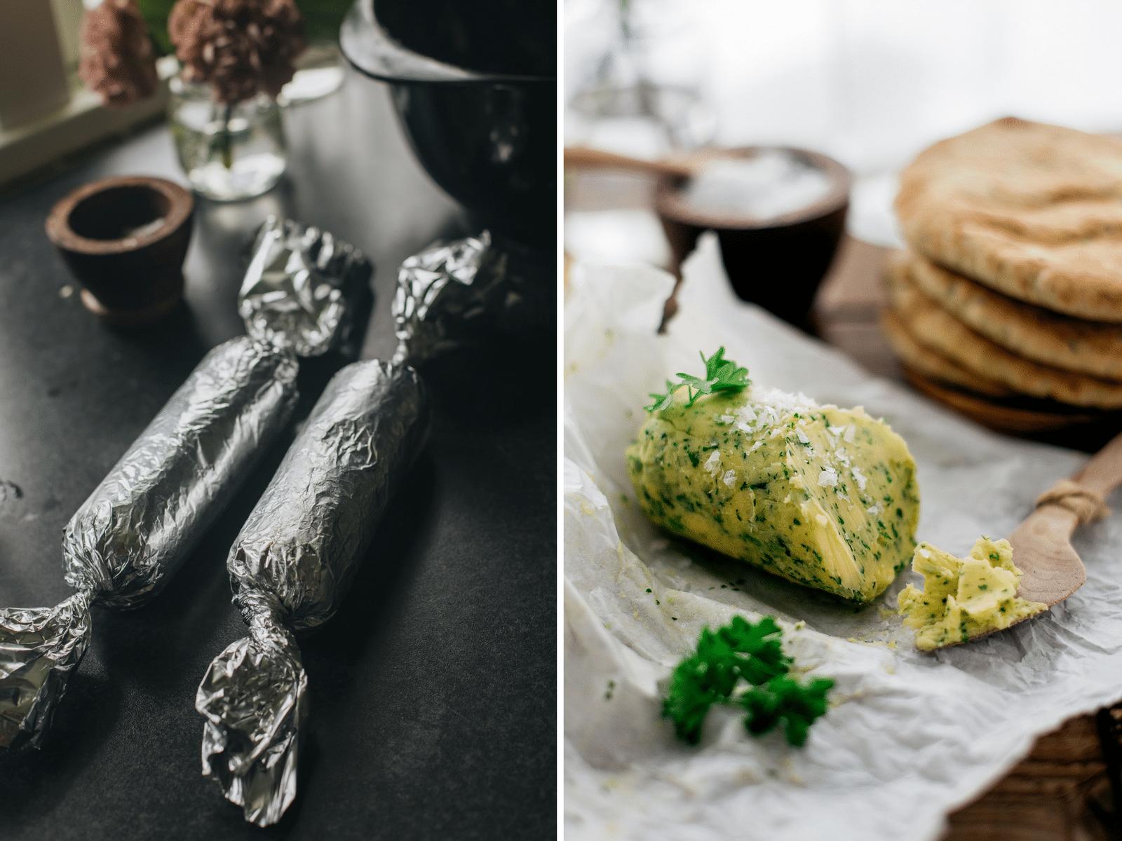 hjemmelavet smør med hvidløg og persille