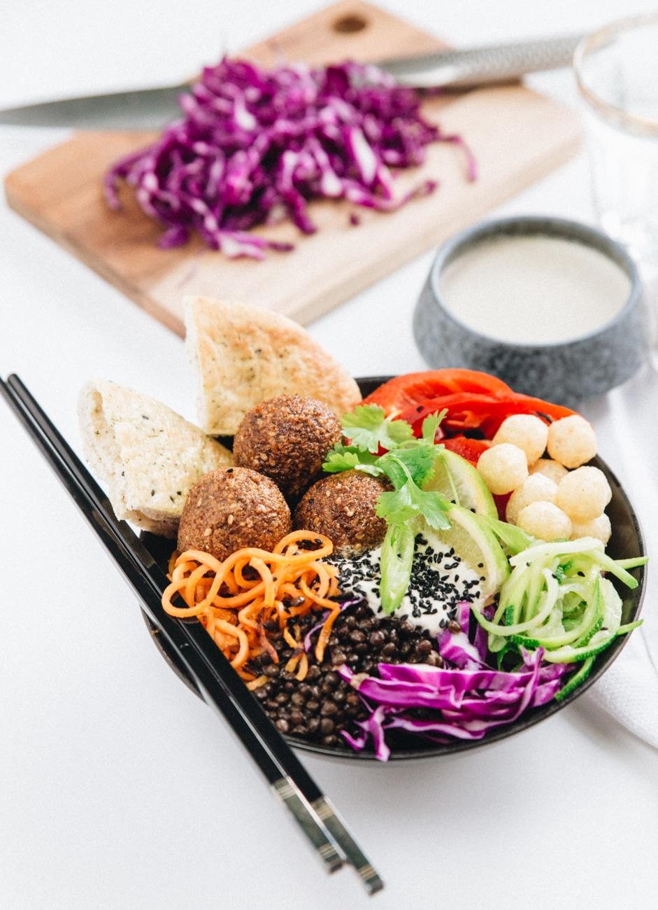 falafler opskrift, buddha bowl, salatskål