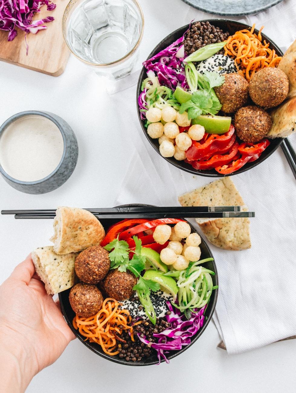 falafler opskrift, buddha bowl, spis i regnbuefarver