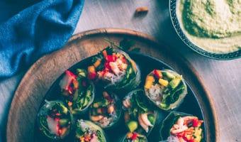 Vietnamesiske forårsruller med hjemmelavet Hoisin sauce og edamame dip