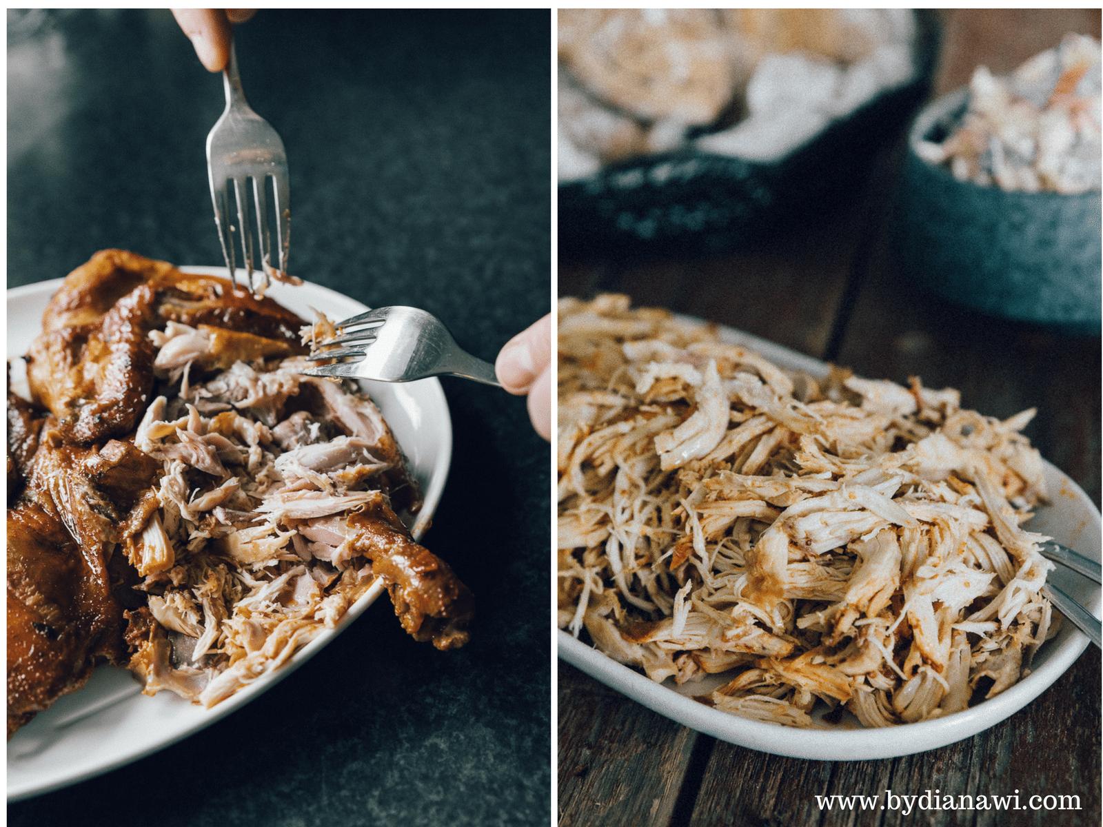 kylling, pulled chicken i ovn, lækker sandwich, nem aftensmad, madplan