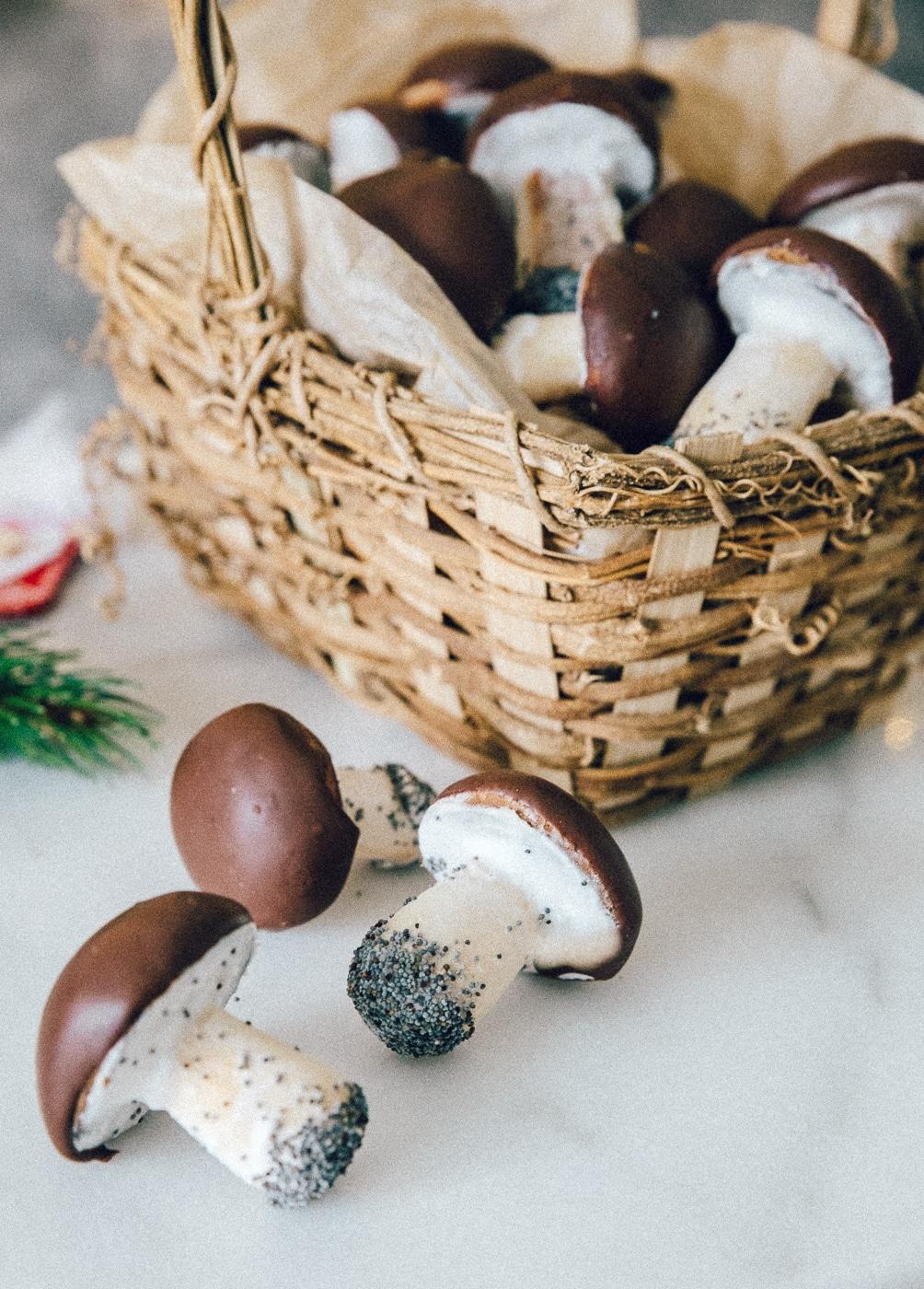 hygge svampe småkager, champignon cookies, familie, familie, hjemmebagt