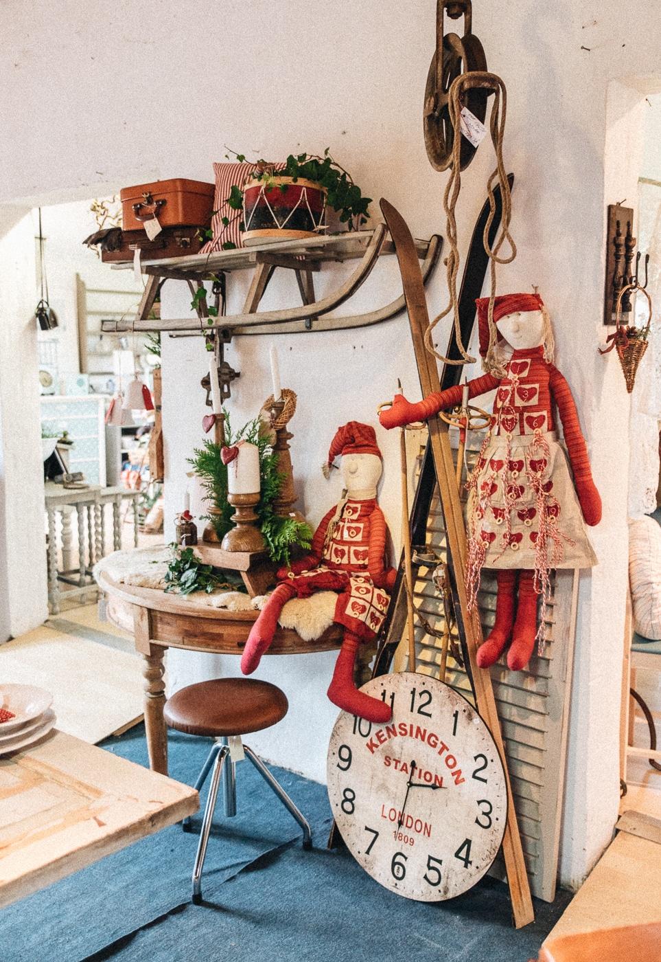 vintage juleborddækning, jul, loppemarked, juleinspiration