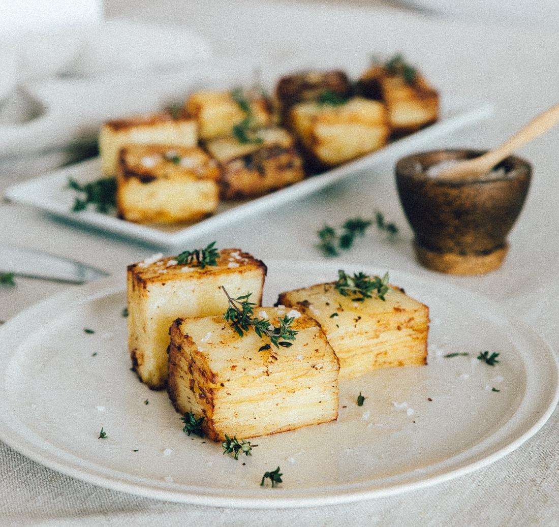 Opskrift på kartoffelterrine eller pommes anna i fløde