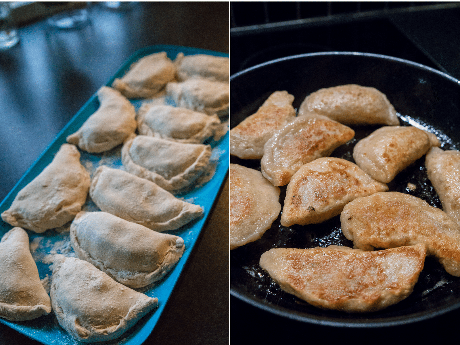 russiske vareniki, fryseegnet mad, ristede løg, karfoffelmos