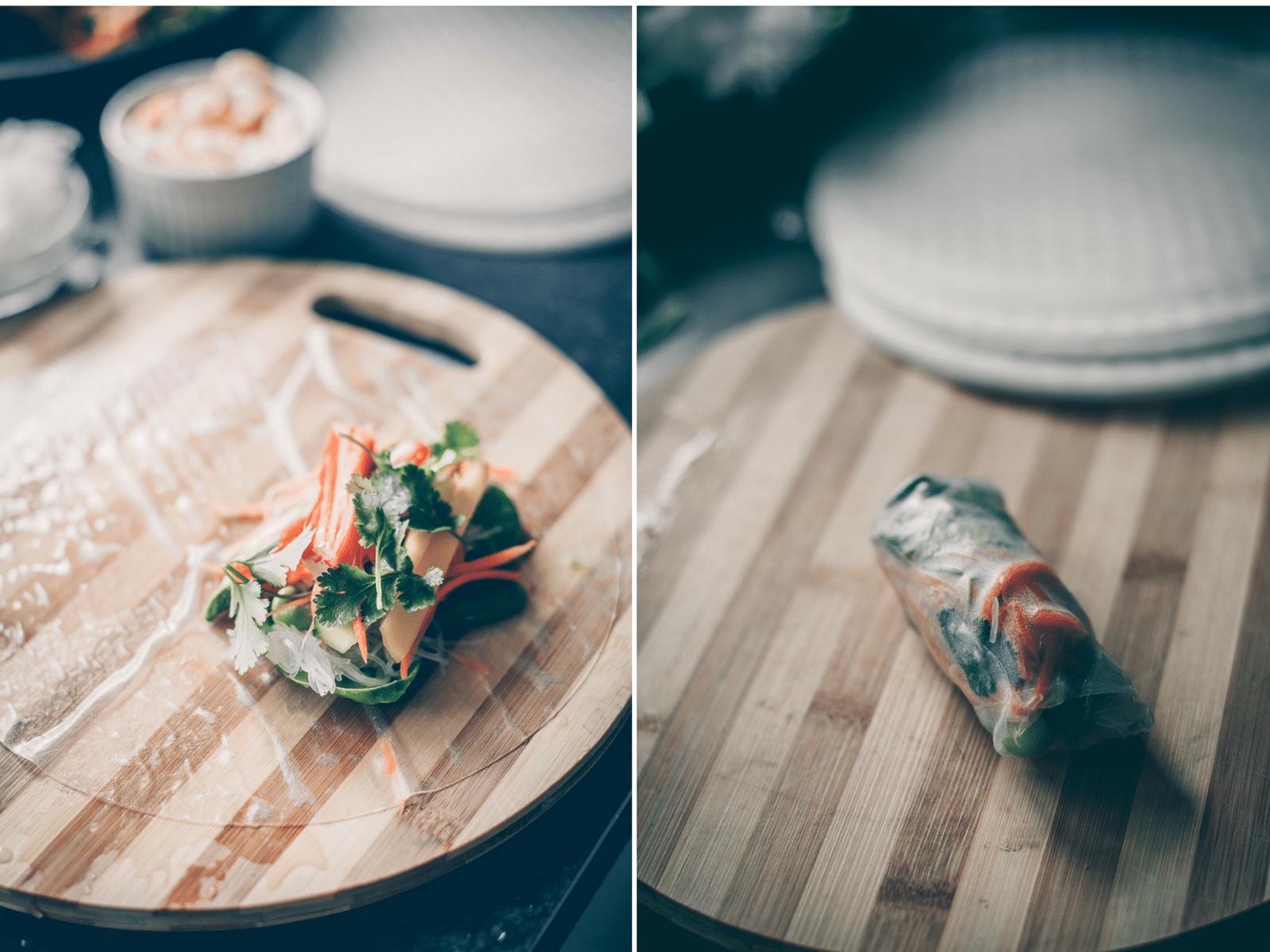 vietnamesiske forårsruller, edamame dip, hoisin sauce