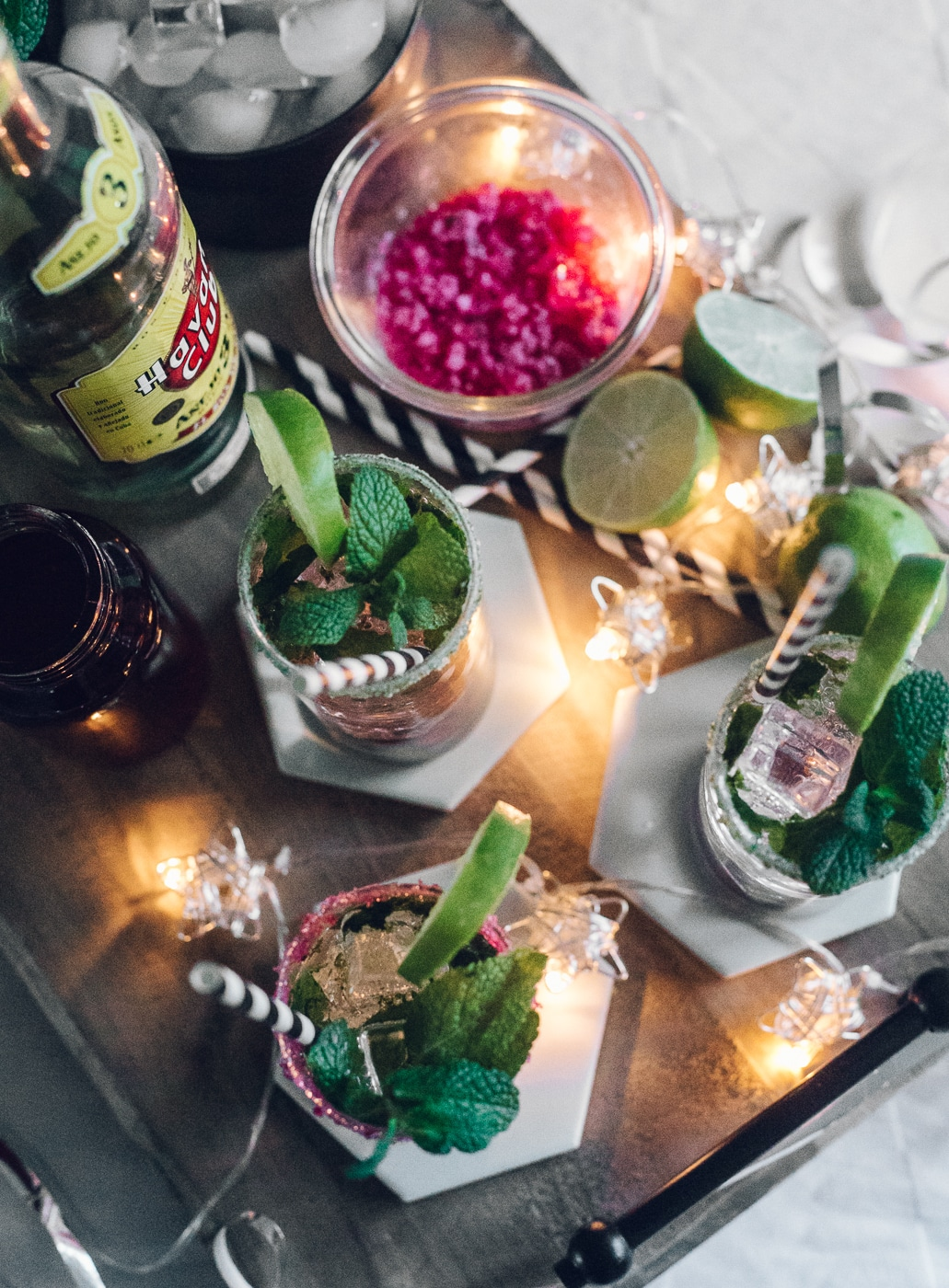 mojito, rabarber mojito, drinks, cocktails, myntesukker, sukkerkant