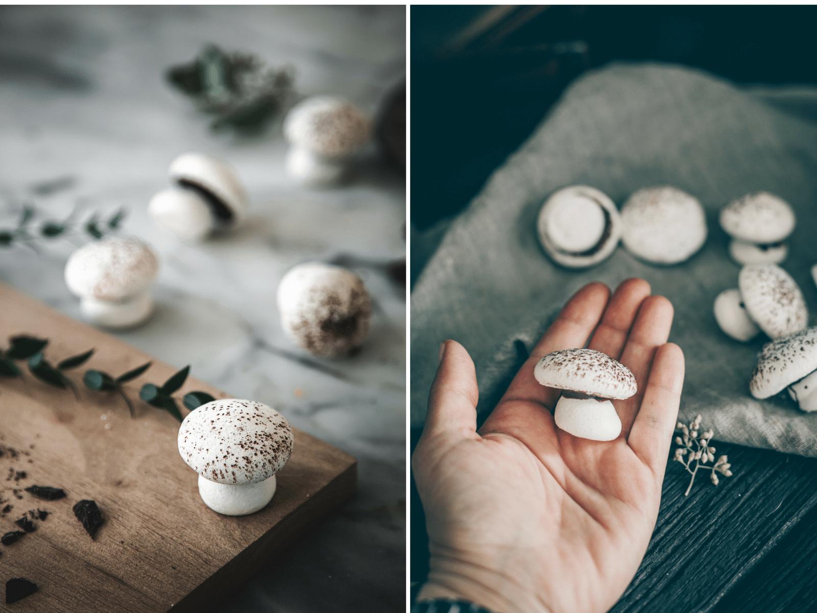 marengs champignoner, marengssvampe med chokolade