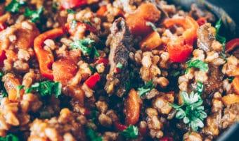 One pot pilaf med oksekød og perlespelt