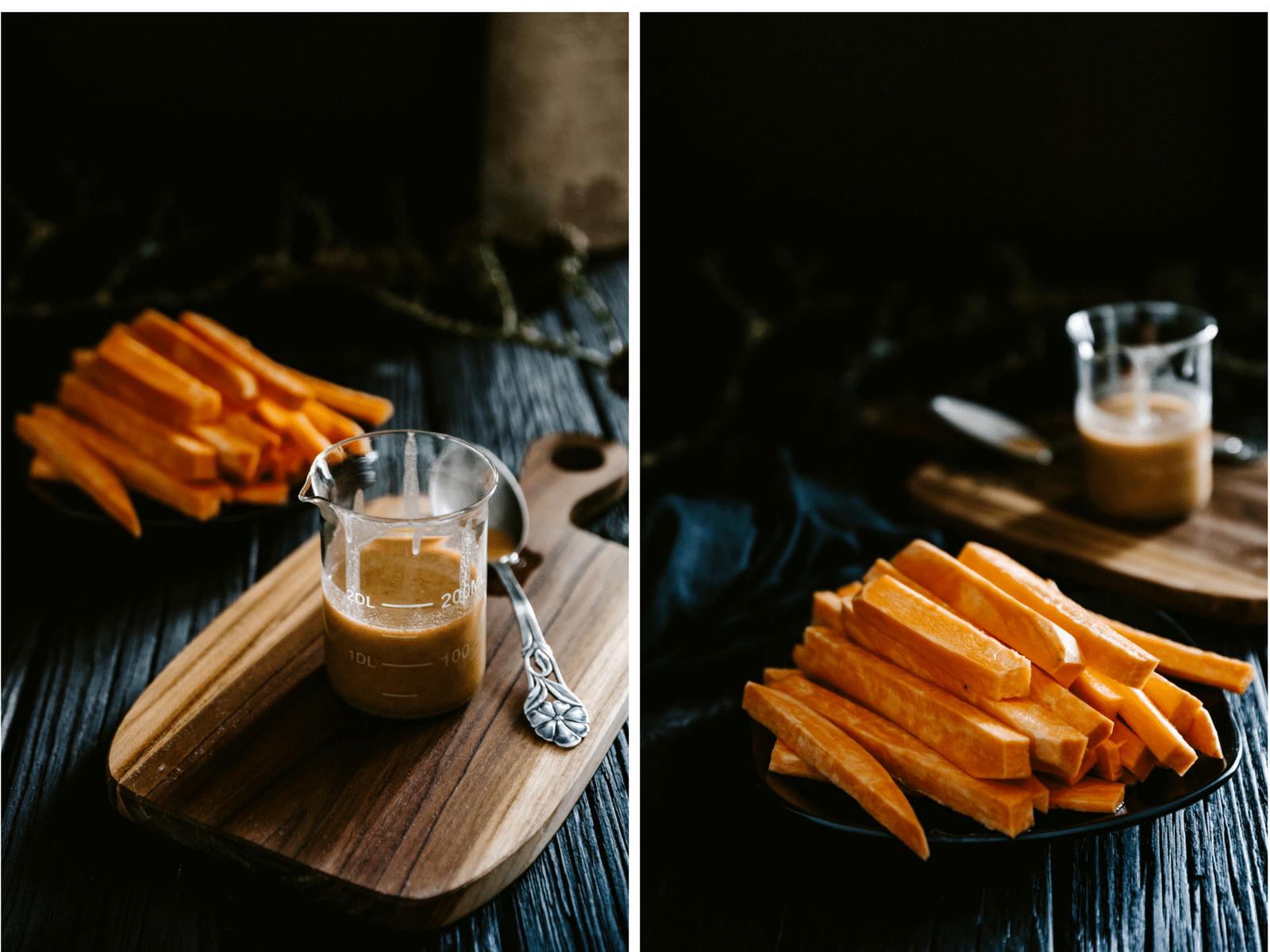 pomfritter af sød kartoffel