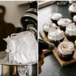 Brownie muffins med jordbærkompot og italiensk marengs