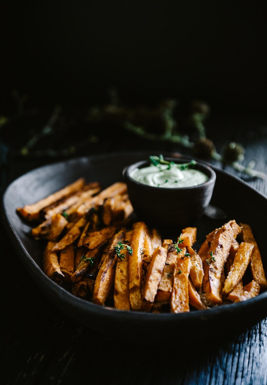 sunde fritter, søde kartofler opskrift, søde kartoffel fritter i ovn