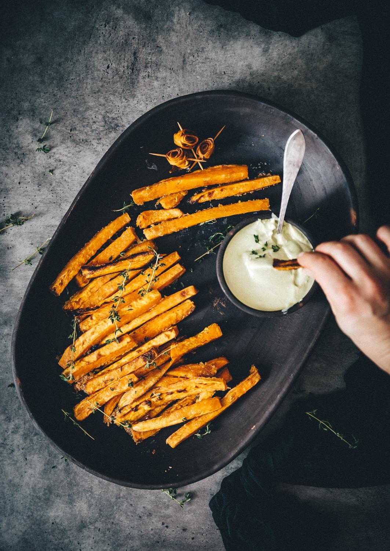søde kartoffel fritter i ovn, sunde fritter, søde kartofler opskrift