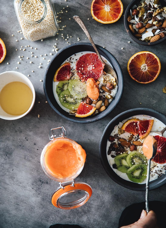 morgenmad med skyr, blodappelsin curd, sund morgenmad, inspiration