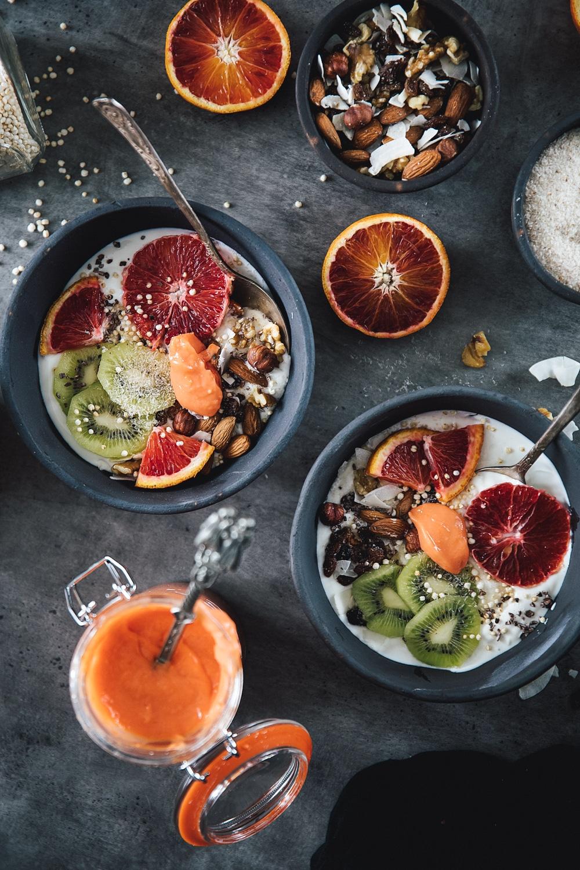 sund morgenmad, morgenmad med skyr, curd blodappelsin