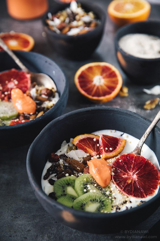 sund morgenmad, blodappelsin curd, morgenmad med skyr