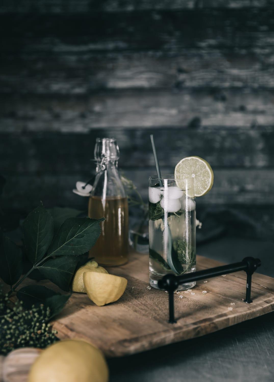 hyldeblomstdrik, hyldeblomstsirup opskrift, hyldeblomstsaft, Mojito